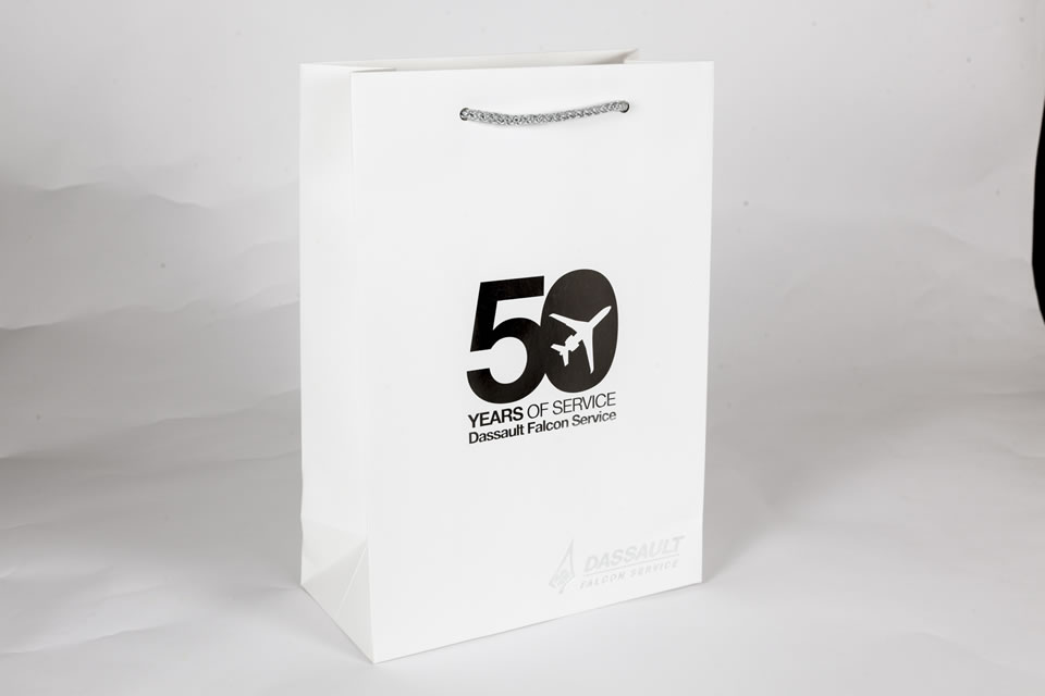 White luxury gift bag with standout logo design