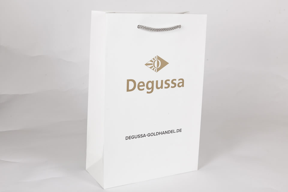 Elegant white gift bag with rope handle