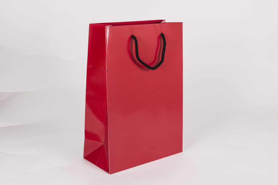 Red laminated luxury gift bags