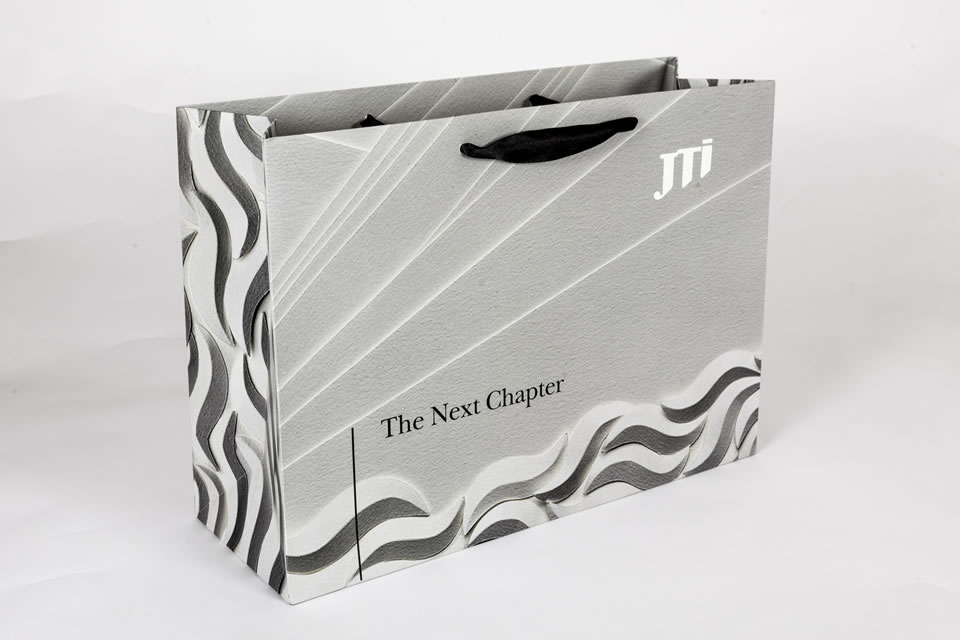 Luxury ribbon handle gift bag with contrasting sides