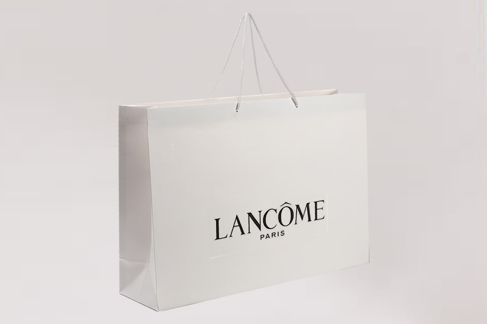Large luxury boutique bag with single colour logo